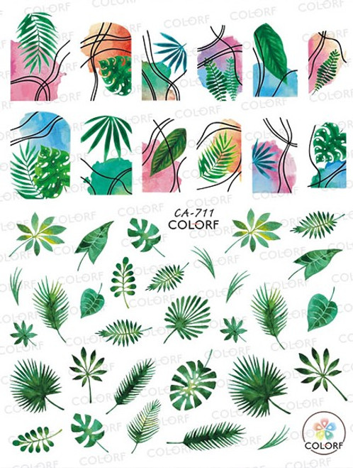Tropical Leaves Nail Art Stickers