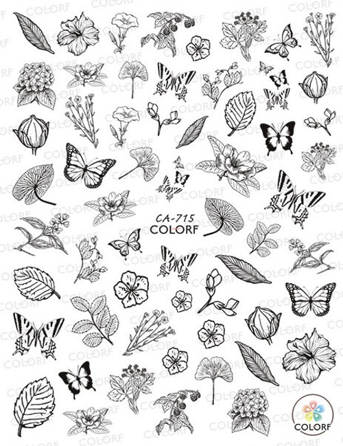 Black & White Spring Nail Art Stickers Butterflies & Flowers