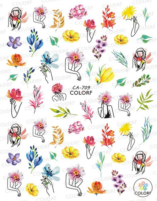 Abstract Spring Summer Floral Nail Art Stickers