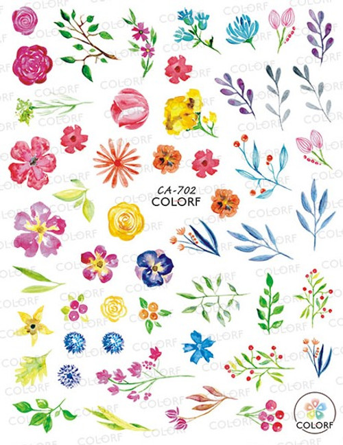 Floral Watercolor Nail Art Stickers Spring Summer Colorful Flowers