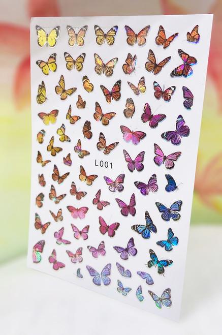 Metallic Butterfly Nail Art Stickers