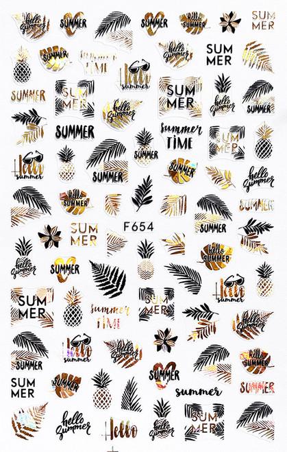 Metallic Black & Gold Nail Art Stickers