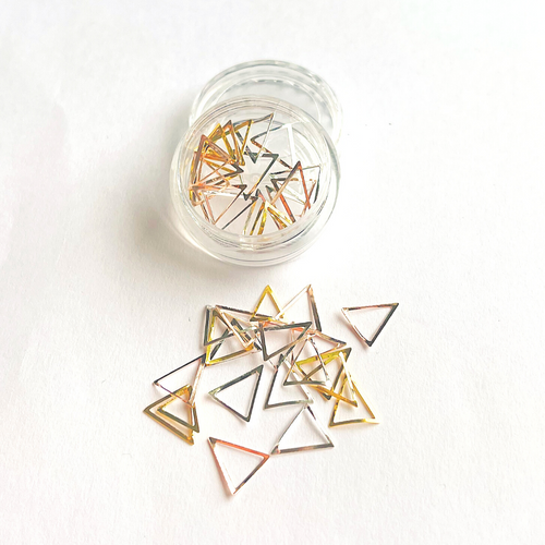 Gold Metal Triangle Nail Art Frame Alloy Silver Rose Gold Decor