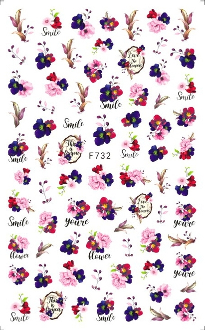Dark Floral Nail Art Stickers F732