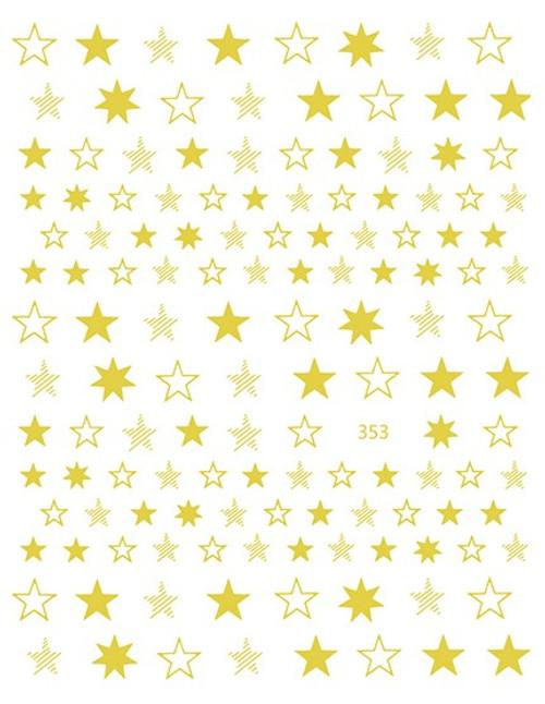 Metallic Stars Nail Art Stickers 353 Gold