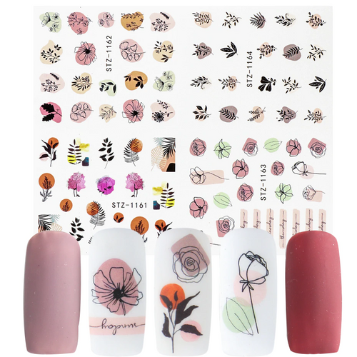 Floral Abstract Nail Art Water Decal