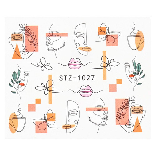 Abstract Faces Nail Art Water Decals STZ-1027