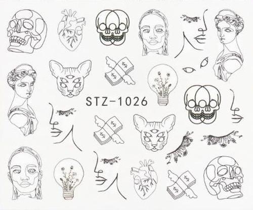 Black & White Line Art Water Decals STZ-1026