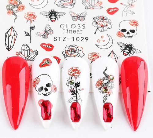 Black & Red Nail Art Water Decals STZ-1029
