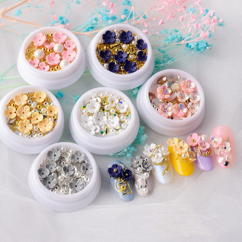 Mixed Metal & Flowers 3D Nail Art Pearls Beads Crystals Metal Frames Rivets Gold Silver Rose Gold Pink Blue Black Irridescent