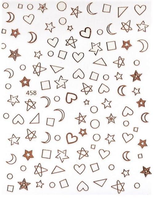 Rose Gold Hearts & Stars Nail Art Stickers Circle Square Shapes