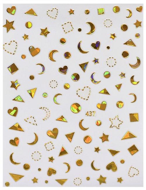 Holographic Gold & Silver Shapes Nail Art Stickers Hearts Moons Stars Squares Circles