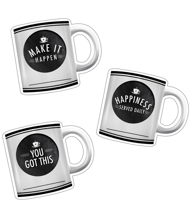 Industrial Cafe Motivational Coffee Mugs Cut-Outs