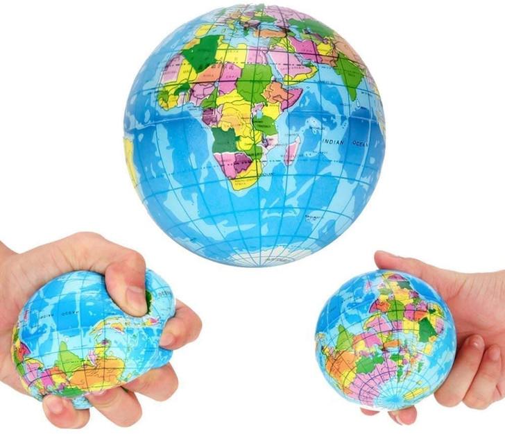 "3"" Globe Squeeze Stress Ball"