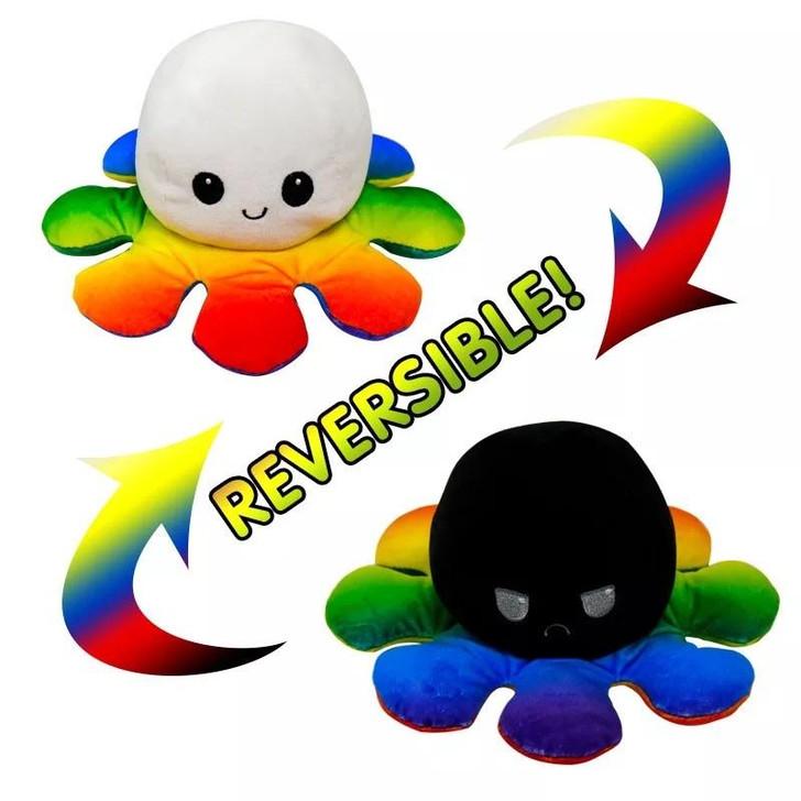 Reversible Rainbow Octopus Plush