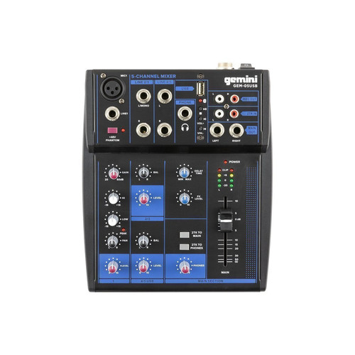 Gemini GEM-05USB COMPACT 5 CHANNEL BLUETOOTH MIXER