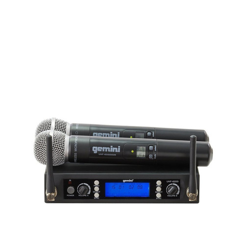 Gemini UHF-6200M Dual channel wireless UHF PLL system with 2 handheld
