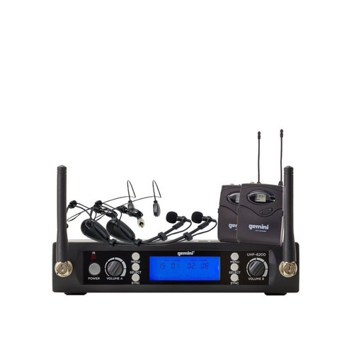 Gemini UHF-6200HL Dual channel wireless UHF PLL system with 2 headset/lavalier
