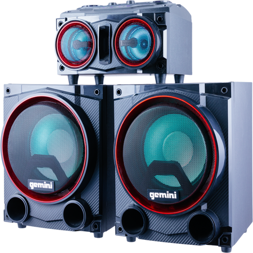"""GSYS-2000 HOME PARTY SYSTEM WITH 2,000 WATTS DUAL 8"""" WOOFERS, PARTY LIGHTS, BLUETOOTH PLAYBACK, FM RADIO"""
