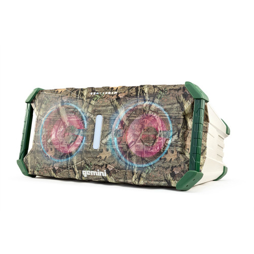 Gemini SOSP-8 SOUNDSPLASH MOSSY OAK PORTABLE WATERPROOF WIRELESS BLUETOOTH SPEAKER WITH MULTI-COLORED LED LIGHT SHOW