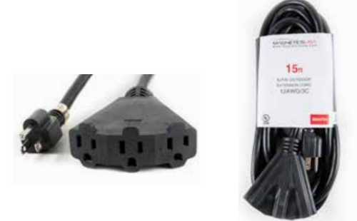 Outdoor Extension Cord 3 Inputs 50 Feet