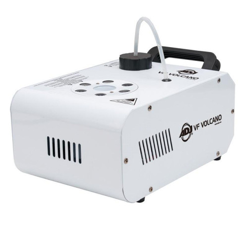 The ADJ VF Volcano  is a compact and affordable vertical Fog Machine that mixes color into the fog from 6x 3-Watt RGB LEDs.  With new advances in ADJ  s heater technology, the VF Volcano produces a dry even blast of fog over 15 feet (4.5 meters) in the air. It has a special heating element design that uses an oil type transmission throughout the pipeline to prevent clogging. It is also equipped with a high performance Italian pump system for optimum output. ADJ  s Electronic Thermo Sensing (ETS) technology is on-board to maintain optimum heat levels with short warm-up time between fog blasts.