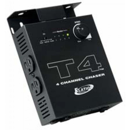 In order to provide the best Sound Active experience the T4 Sound-To-Light Chase Controller allows for the execution of chase patterns for your par can set up in conjunction with the audio from your music. Also features a chase mode by way of a speed control knob and a built-in microphone.