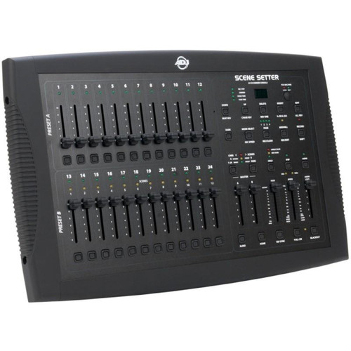 ADJ's Scene Setter is a 24 Channel Dimming Console for the purpose of managing the levels on your conventional light entertainment system. With lots of built-in reprogrammable scenes and chases you can easily create and manage your light show. This portable control system is perfect for the DJ at home, club, bar, on the road, or for any professional stage production.