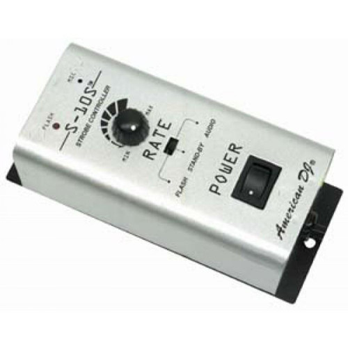 The S-10S Single Channel Strobe Controller by ADJ, durable strobe control. With the Red LED display showing your Flash rate, for great strobe effects. Control up to 6 ADJ Super Strobes, S-100A's & Snap Shot II's with your ADJ S-10S