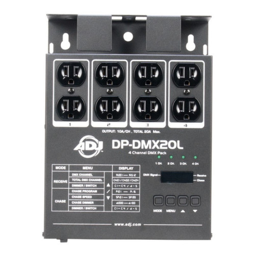 """ADJ's DP-DMX20L is a 4 channel portable and universal DMX dimmer/switch pack. Each channel can individually be set to dim or switch and the pack can function as a one, two or four channel device. Using the packs digital display, the pack is quick and easy to set up. There are dual Edison sockets supplied so more than one effect can be connected to each channel. There are 16 built in chase sequences, with speed and intensity control, available for your convenience. This device also has four external channel fuses which allows for quick and easy serviceability while out on the road.  Another feature we included was the sleek reversible mounting panel on the rear to make it easier to install. Also for your safety we have a zero crossing circuitry for protection of the transformer loads when switching.<br/><br/>,<br/>•4 channel DMX Dimmer Pack<BR>•Digital display- used to set starting DMX address channels and set all other menu options<BR>•Selectable 1, 2, or 4 channel operation<BR>•Adjustable master dim level.<BR>•Two three prong Edison sockets per channel<BR>•3 pin XLR DMX Input&Output<BR>•Four LED's display channel activity<BR>•External channel fuses for quick and easy replacement<BR>•Sleek reversible mounting panel on the rear<BR>•Zero crossing circuitry for protection of transformer loads when switching<BR>•16 built in Chases when in Chase mode with adjustable speed setting<BR>•Use in conjunction with Elation; DMX Operator Pro, Stage Setter-8, Scene<BR>•Reversible mounting brackets.<BR>•Setter, Scene Setter-48, Stage Desk-16 or any universal DMX controller<BR>•Power Input: 120V ~ 60Hz<BR>•Maximum Load: 10A per channel / 20A total<BR>•Dimensions: 10.25""""L x 8.25""""W x 3""""H<BR>•Weight: 6 lbs<BR>"""