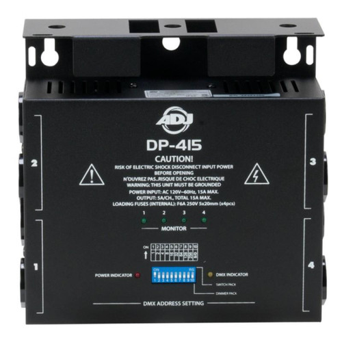"""ADJ's DP-415 is a compact, poratable 4-channel DMX dimmer that has two 3-prong 15Amp Edison sockets for each channel giving you a total of 8 plugs altogether allowing you to be able to control up to 8 fixtures. The dip switches on the face of the unit allow you to set the DMX patch address and operation mode for the pack. The hanging bracket is reversible to give you flexibility when installing this product to either a hanging bracket or on a truss and it can also be used with a clamp. Also to make this product easier to use we incorporated LED """"ON"""" indicators and a DMX signal indicator LED is also incorporated so that when DMX signal is present, the LED illuminates.<br/><br/>,<br/>•Compact 4-Channel DMX Dimmer<BR>•2x 3-pong Edison plugs per channel (8 total plugs)<BR>•On/Off power switch<BR>•XLR In/Out<BR>•10-position dip switch settings to address DMX<BR>•Assign as a dimmer pack or switch pack<BR>•Changeable hanging bracket to hang on truss<BR>•LED """"On"""" indications<BR>•Max Power: 15A Total, 5A per channel<BR>•Dimensions (LxWxH): 7"""" x 7"""" x 2.5"""" / 180x177x64mm<BR>•Weight: 3 lbs./1.2 kgs.<BR>"""