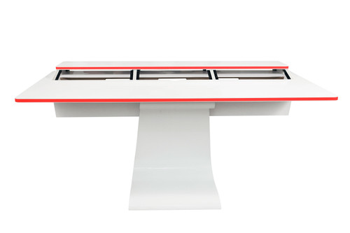 Vela R White Gloss Studio Desk w/Rack Spaces