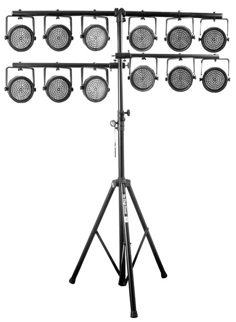 Fastest, secure way to erect and dismantle lightweight portable lighting arrays