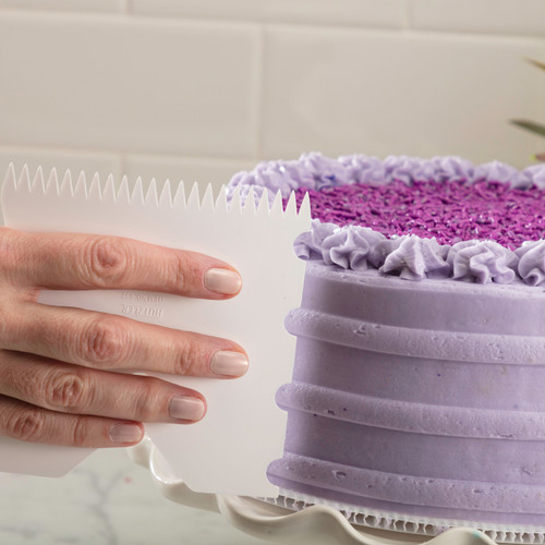 Cake Edger with Purple Cake and Ribbed Frosting