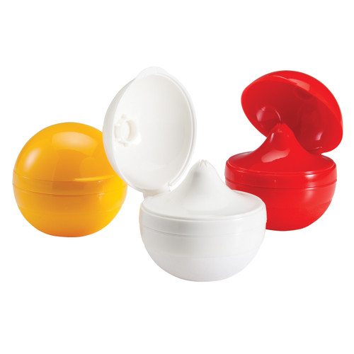 Hutzler Sauce Pods in yellow,  whit, and red