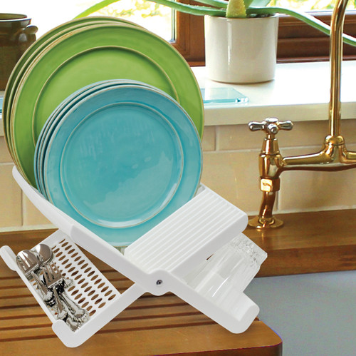Folding Dish Rack filled with plates and cutlery