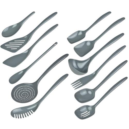 Hutzler Set of 12 Melamine Utensils, gray