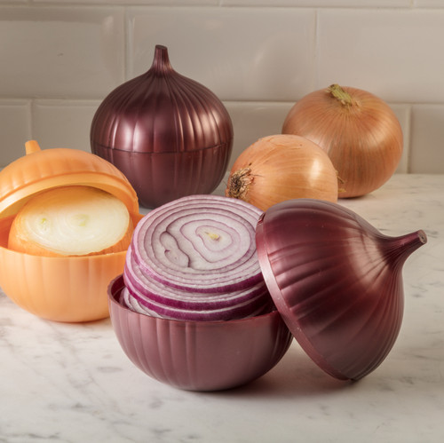 Hutzler Onion Keepers filled with cut onions