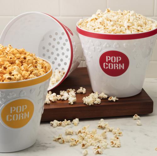 Hutzler Popcorn Buckets filled with popcorn