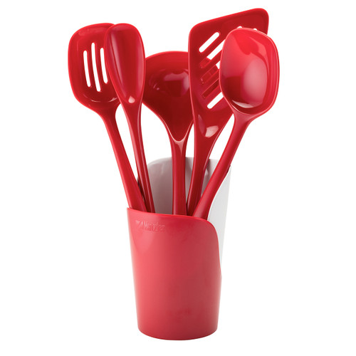 Melamine Utensil Set with Crock, Red