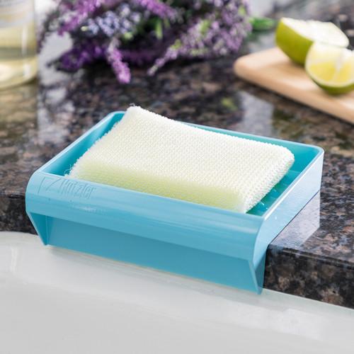 Blue Draining Sponge Tray on Countertop