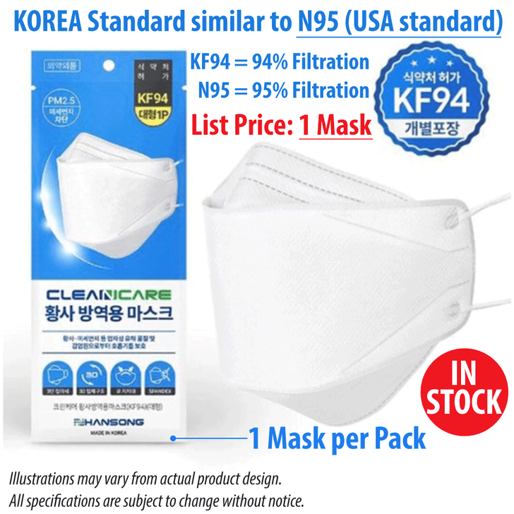 CleanCare KF94 Face Mask (Made in Korea KF94 Masks)
