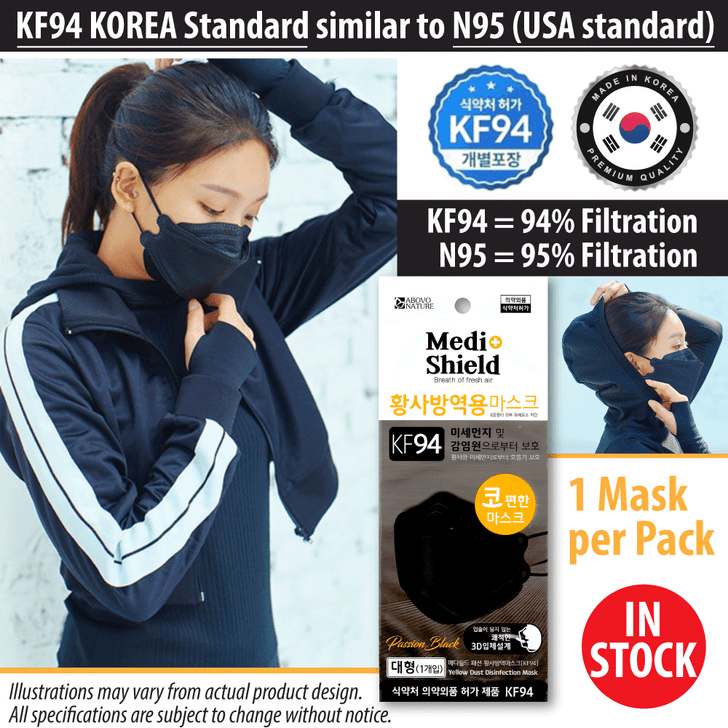 KF94 Face Mask, Black - Made in Korea