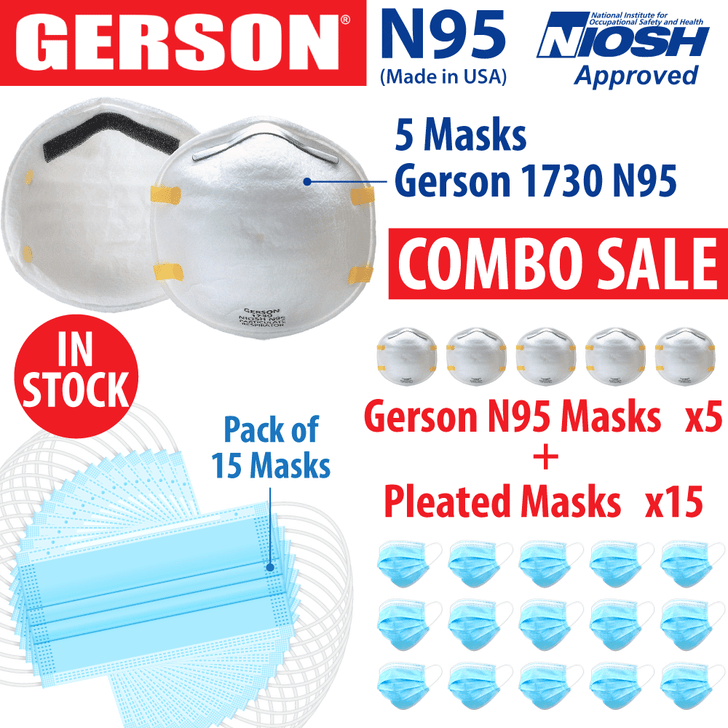 Gerson N95 Mask #1730 - Pack of 5 N95 Respirators