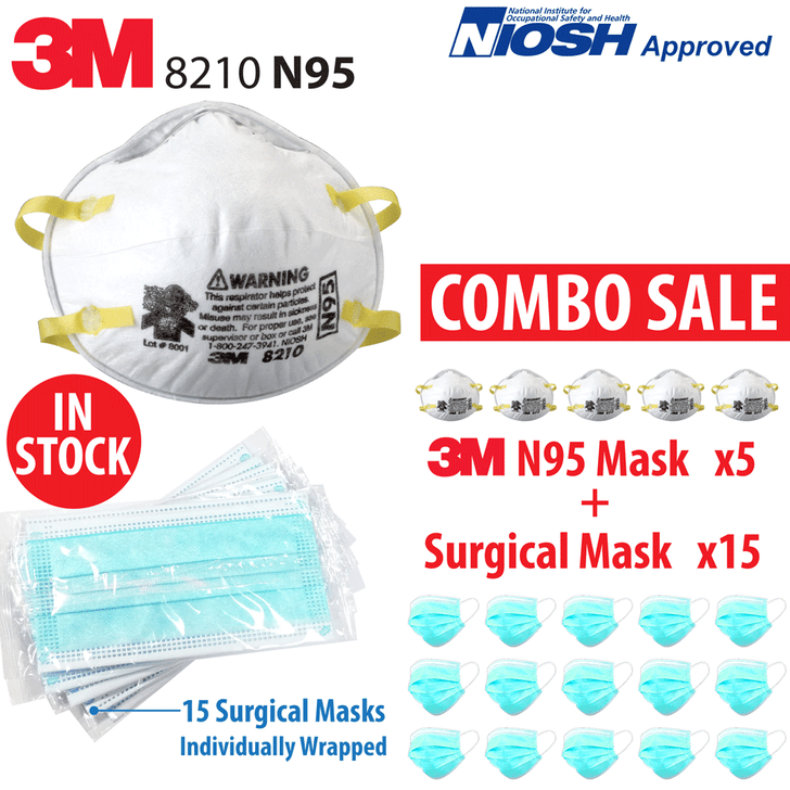 3M 8210 N95 Mask - Pack of 5 N95 in Stock