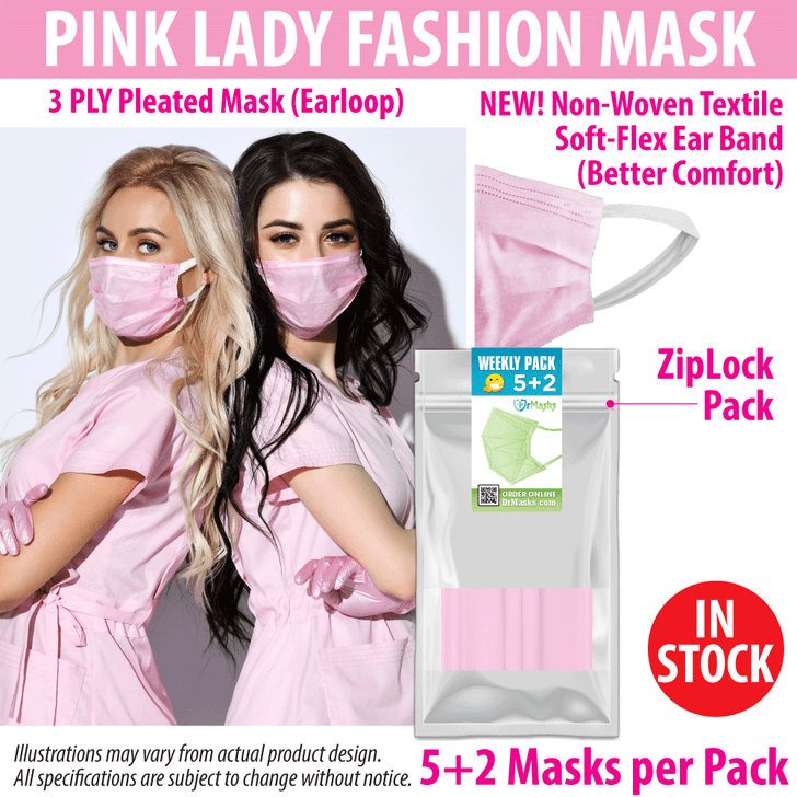 Pink Disposable Face Mask (Pack of 7 Masks)