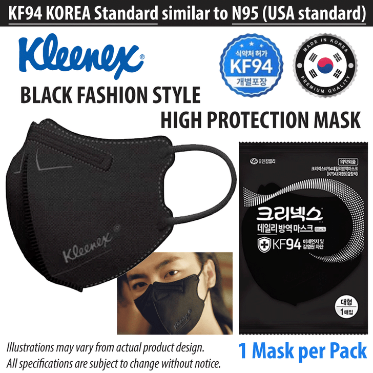 KLEENEX - KF94 Mask (Made in Korea, Black KF94 Face Masks)