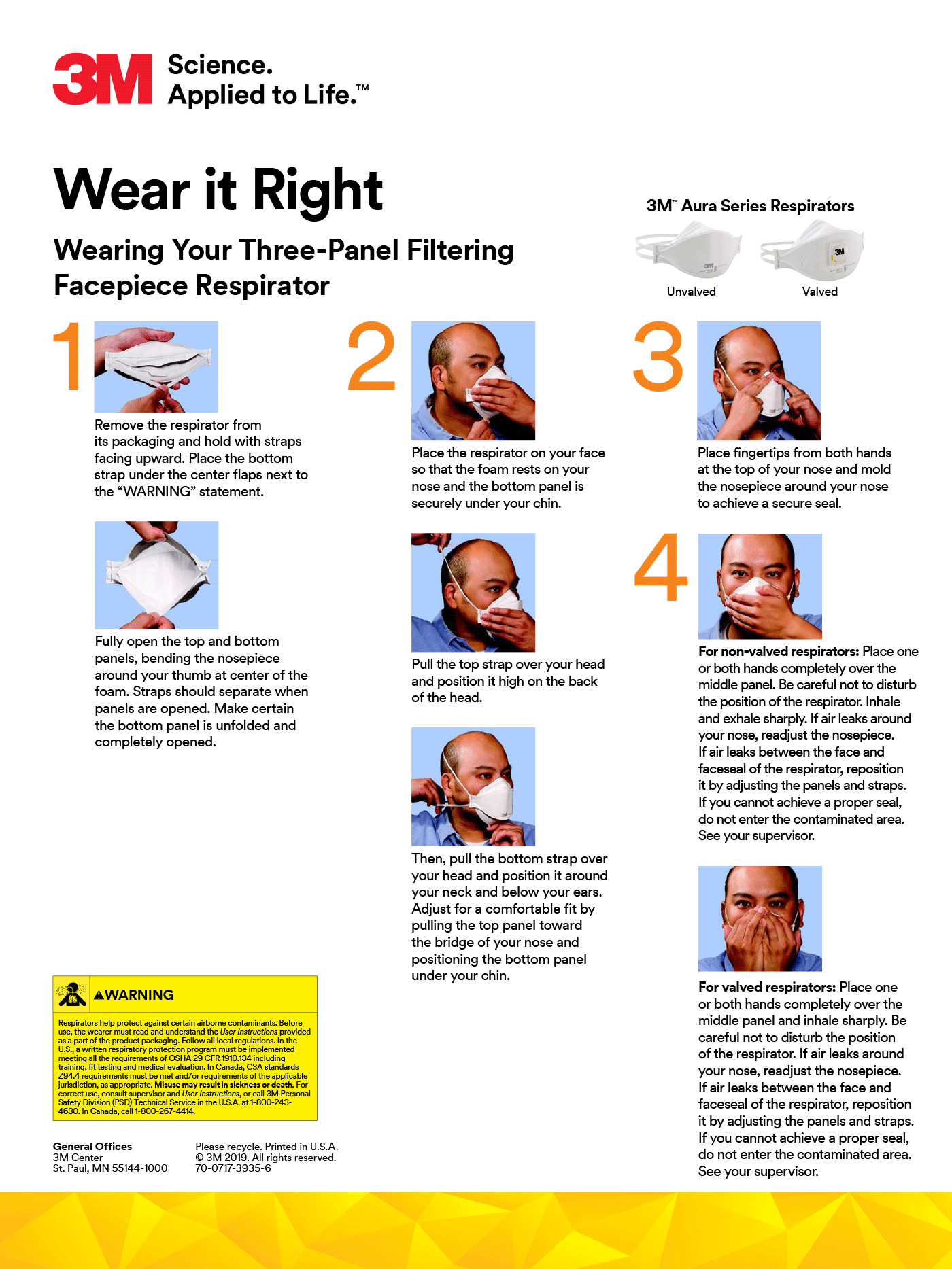 Instructions on How to Wear 9205+ 3M N95 Flat-fold Mask