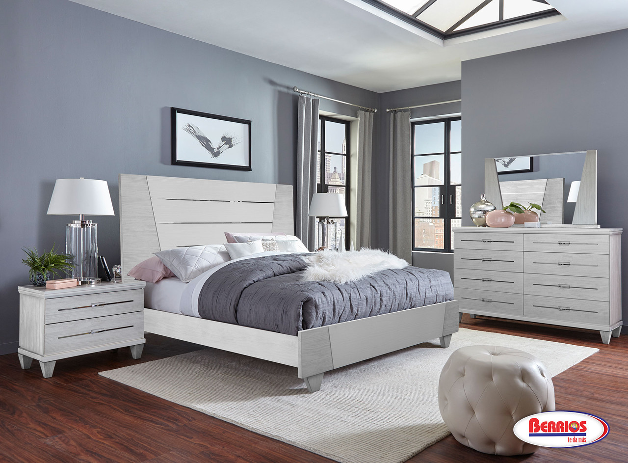 231 Light Gray White Bedroom Set Berrios Gives You More