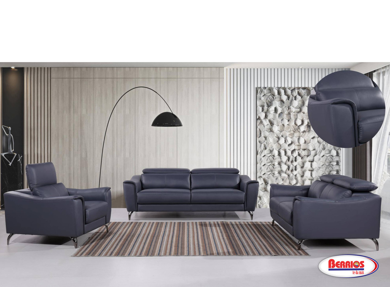 1803 Leather Match Blue Living Room With Adjustable Headboard Berrios Gives You More